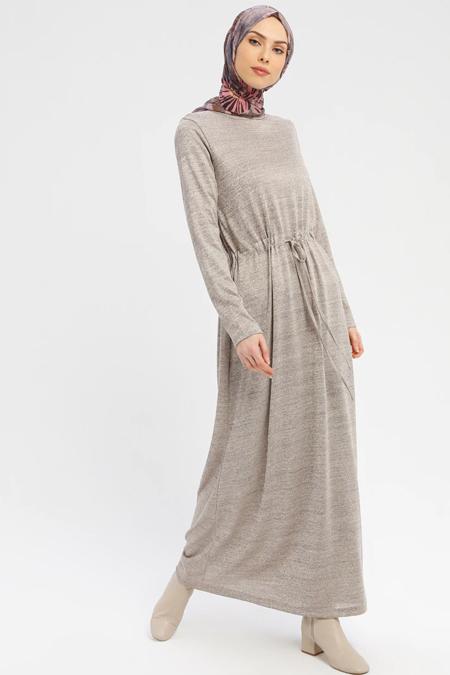 Tavin Vizon Belden Bağlamalı Uzun Elbise