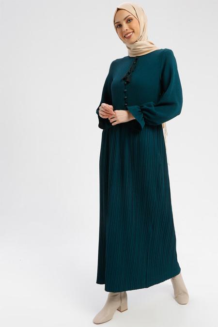 Tavin Yeşil Pliseli Elbise
