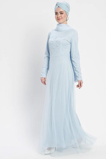 Şanlı Bebe Mavisi Boncuk Detaylı Tüllü Abiye Elbise