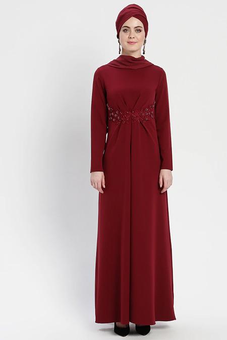 Şanlı Bordo Güpür Detaylı A Pile Abiye Elbise