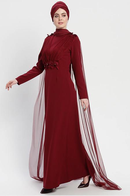 Şanlı Bordo Tül Pelerinli Abiye Elbise