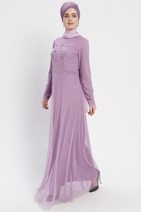 Şanlı Lila Boncuk Detaylı Tüllü Abiye Elbise