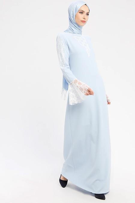 Şanlı Mavi Ekru Güpür Detaylı Abiye Elbise