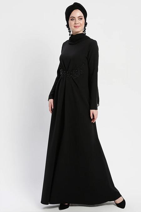 Şanlı Siyah Güpür Detaylı A Pile Abiye Elbise