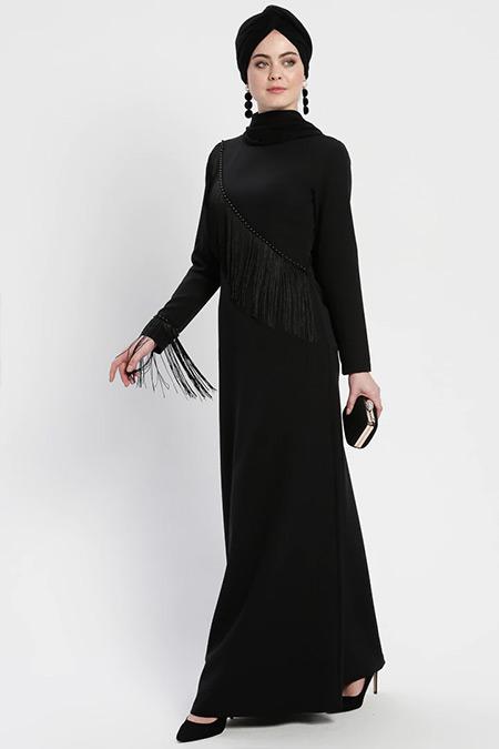 Şanlı Siyah Püskül Detaylı Abiye Elbise