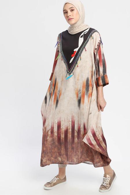 Ajal Karışık Renkli Etnik Desenli Salaş Elbise