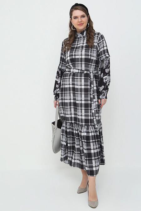 Alia Gri Siyah Ekoseli Elbise