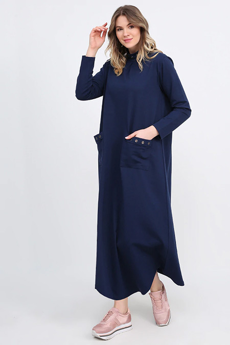 Alia Koyu Mavi Kuşgözü Detaylı Elbise