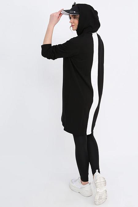 Alia Siyah Beyaz Doğal Kumaşlı Kapüşonlu Tunik