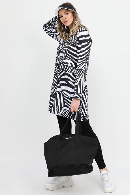 Alia Siyah Beyaz Zebra Desenli Tunik