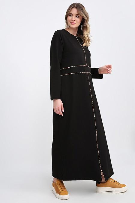 Alia Siyah Biye Detaylı Elbise
