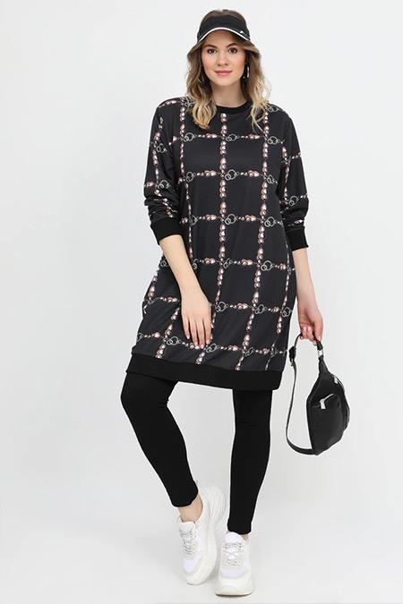 Alia Siyah Cep Detaylı Zincir Desenli Tunik