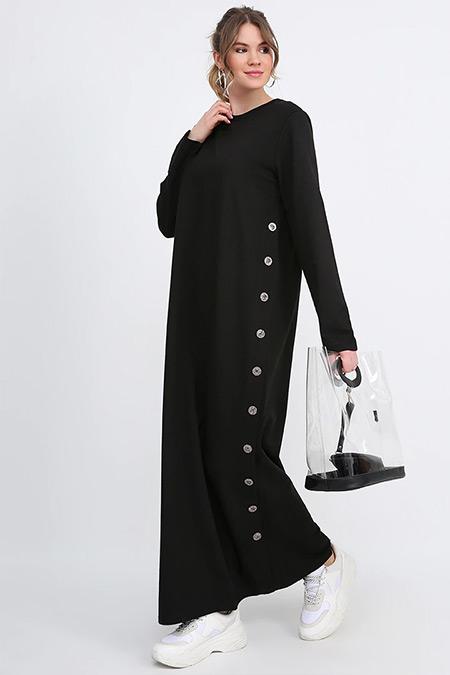 Alia Siyah Düğme Detaylı Elbise