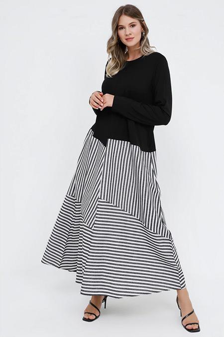 Alia Siyah Doğal Kumaşlı Garnili Elbise