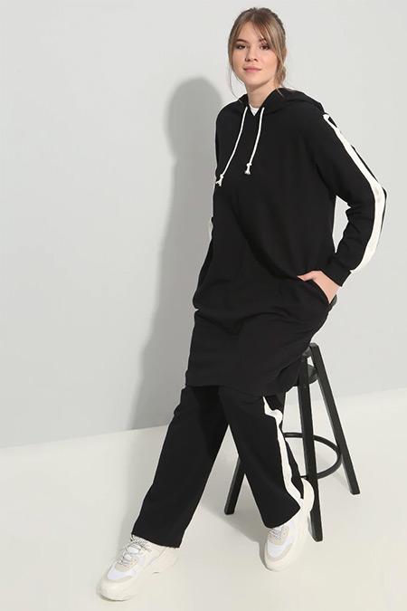 Alia Siyah Ekru Spor Tunik&Pantolon İkili Takım