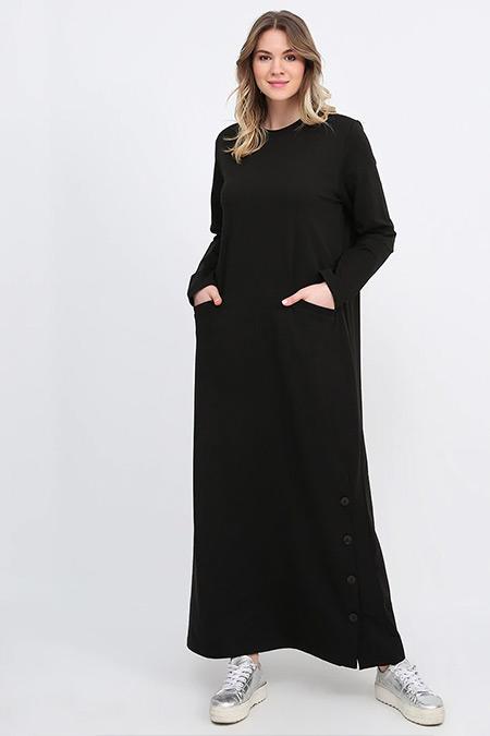 Alia Siyah Eteği Düğme Detaylı Spor Elbise