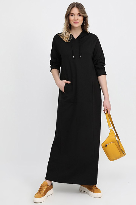 Alia Siyah Kapüşonlu Spor Elbise