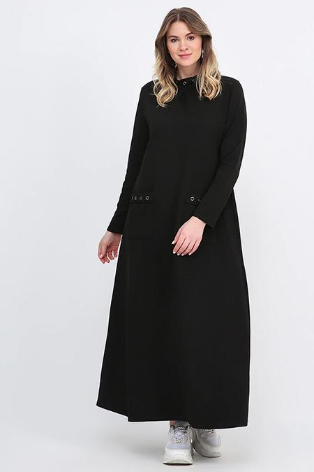 Alia Siyah Kuşgözü Detaylı Elbise