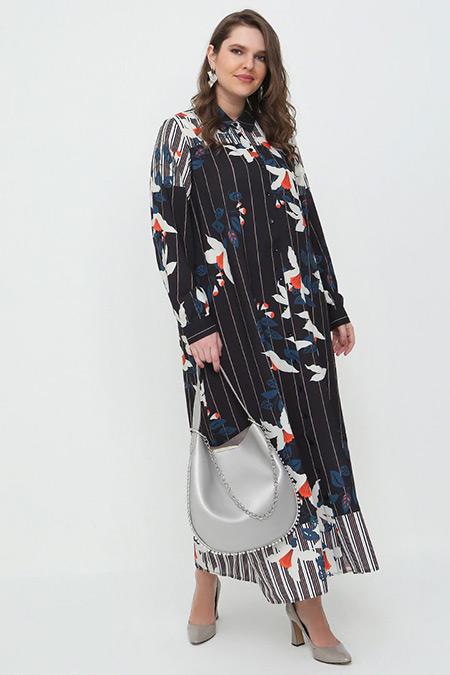 Alia Vizon Siyah Boydan Düğmeli Desenli Elbise
