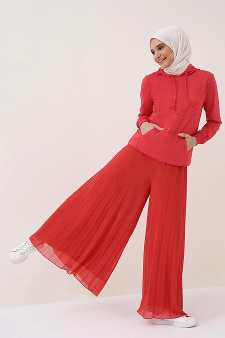 Benin Kırmızı Piliseli Şifon Pantolon