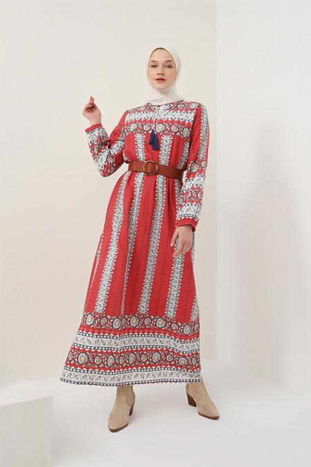 Benin Lacivert Bordo Doğal Kumaşlı Desenli Elbise