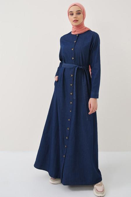 Benin Lacivert Boydan Düğmeli Kot Elbise