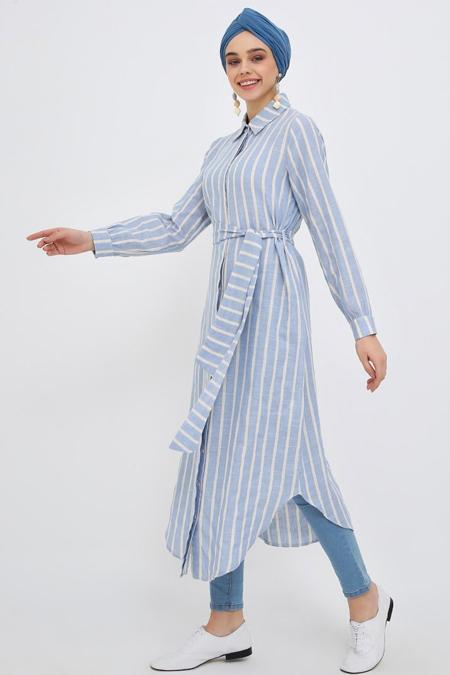 Benin Mavi Beyaz Doğal Kumaşlı Gizli Düğmeli Tunik Elbise