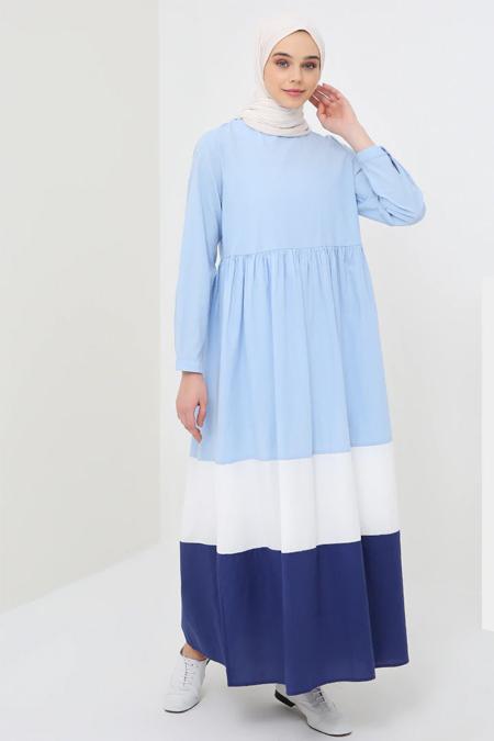 Benin Mavi Doğal Kumaşlı Elbise