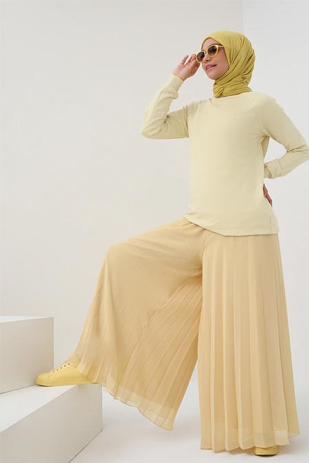 Benin Sarı Piliseli Şifon Pantolon