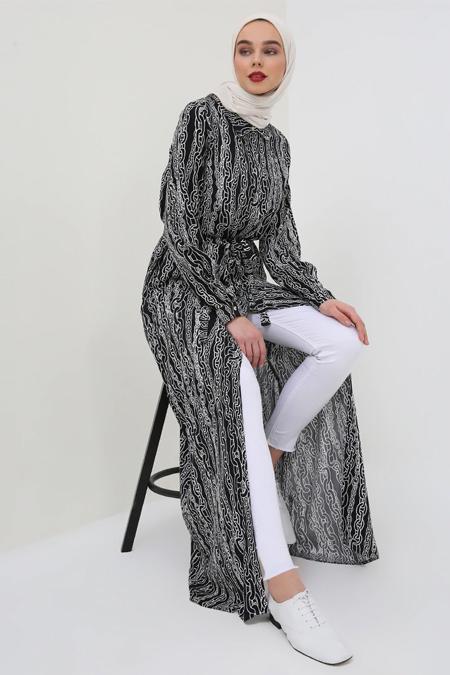 Benin Siyah Beyaz Doğal Kumaşlı Gizli Düğmeli Elbise