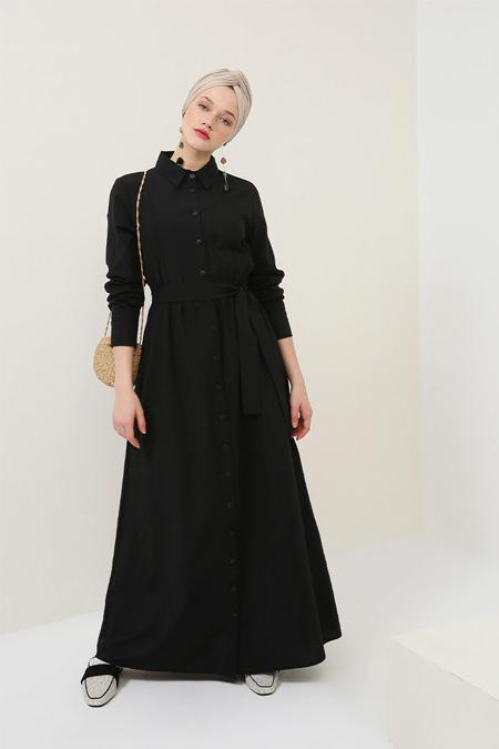Benin Siyah Boydan Düğmeli Kuşaklı Elbise