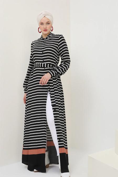 Benin Siyah Doğal Kumaşlı Çizgili Elbise