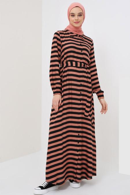 Benin Siyah Mercan Doğal Kumaşlı Çizgili Elbise