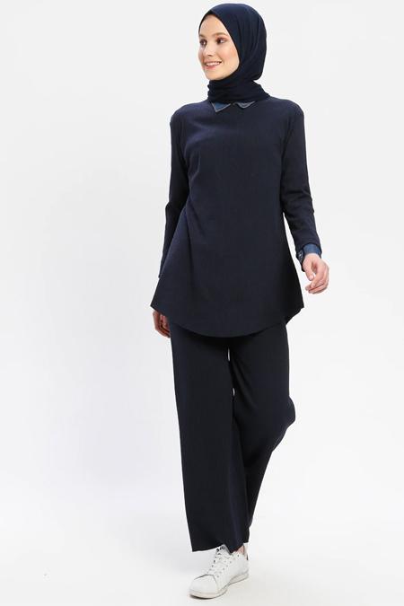 Çat Pat Tekstil Lacivert Tunik & Pantolon İkili Takım