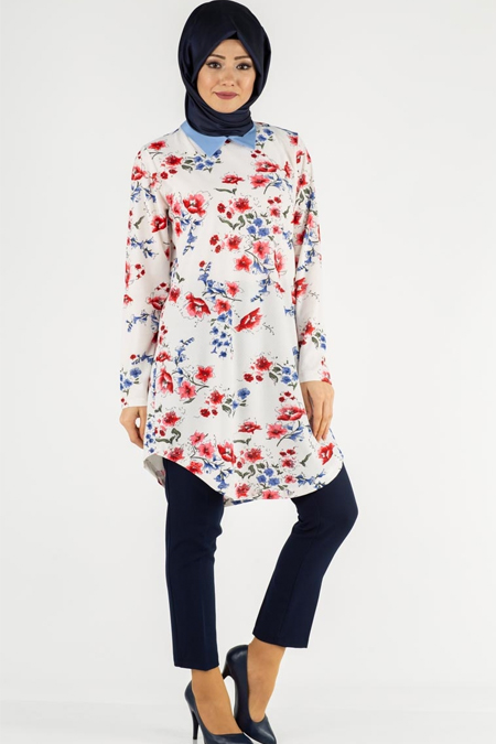 Çiçek Desen Gömlek Yaka Tesettür Tunik
