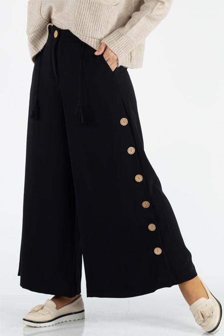 Siyah Düğme ve Püskül Detaylı Pantolon