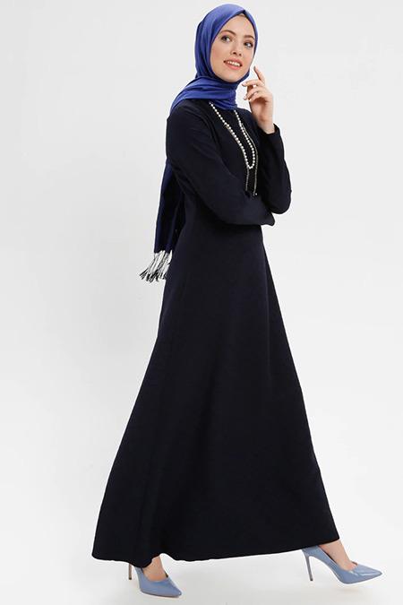 ELİT LİFE Lacivert Kolyeli Uzun Elbise