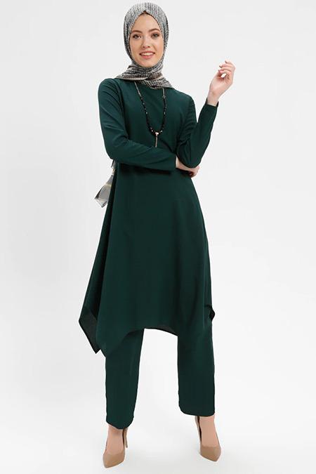 ELİT LİFE Zümrüt Yeşili Tunik Pantolon İkili Takım