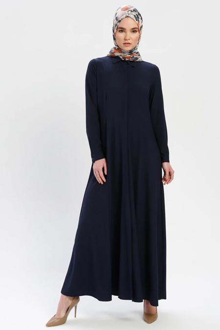 ELİT LİFE Açık Lacivert Boydan Gizli Düğmeli Elbise