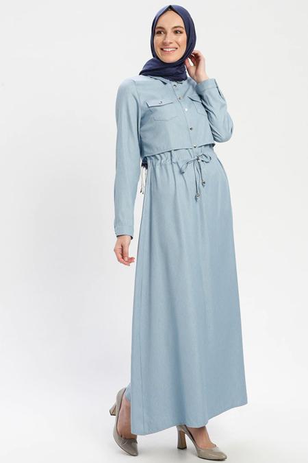 ELİT LİFE Bebe Mavisi Belden Bağlamalı Elbise