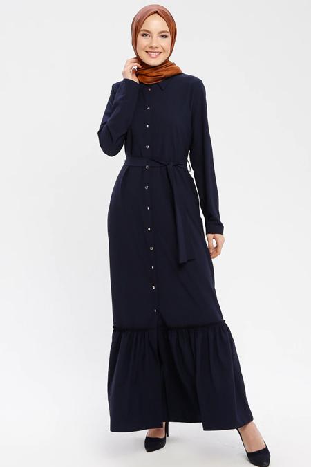 ELİT LİFE Lacivert Boydan Düğmeli Elbise
