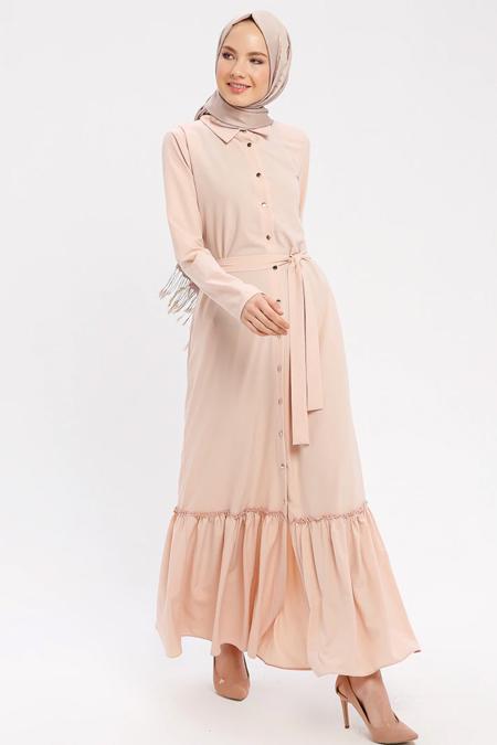 ELİT LİFE Pudra Boydan Düğmeli Elbise