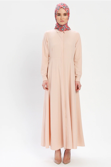 ELİT LİFE Pudra Boydan Gizli Düğmeli Elbise
