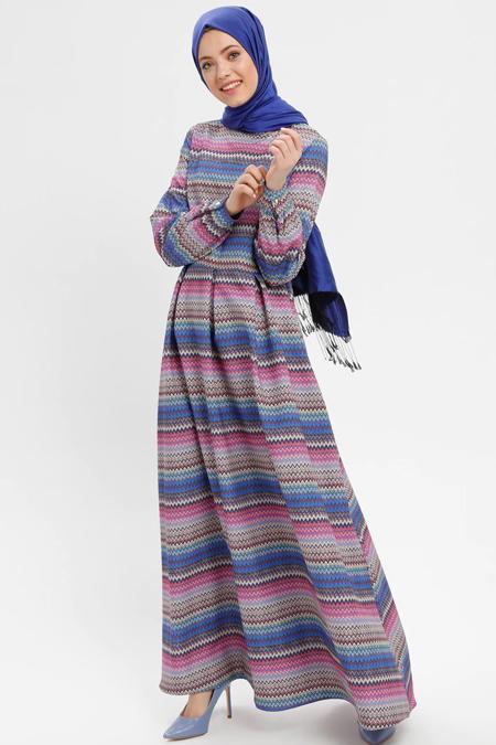 ELİT LİFE Saks Desenli Elbise