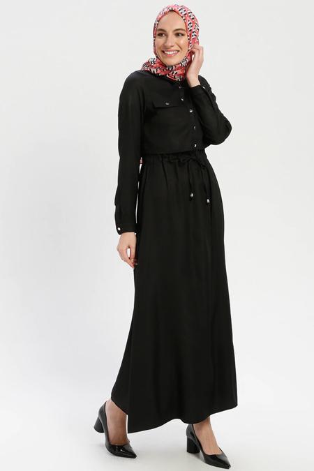 ELİT LİFE Siyah Belden Bağlamalı Elbise