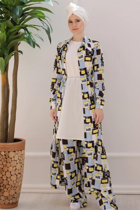 Emsale Karışık Renkli Pisagor Tunik & Pantolon İkili Takım