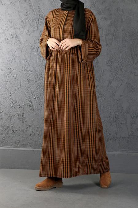 Esra Keskin Demir Hardal Büzgü Detaylı Elbise
