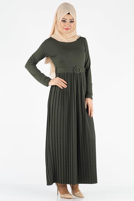 Eteği Piliseli Kemerli Tesettür Elbise