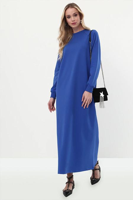 Everyday Basic Kobalt Mavi Düz Renk Spor Elbise