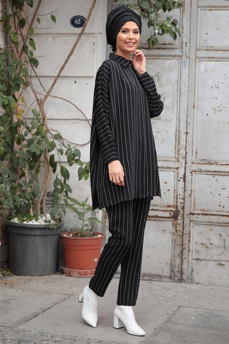 Gamze Özkul Siyah Çizgili Tunik & Pantolon İkili Takım